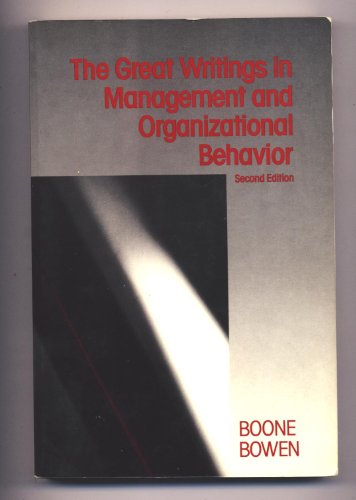 9780394360997: The Great writings in management and organizational behavior