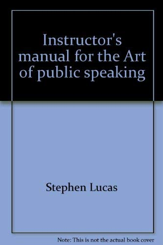 9780394389059: Instructor's manual for the Art of public speaking