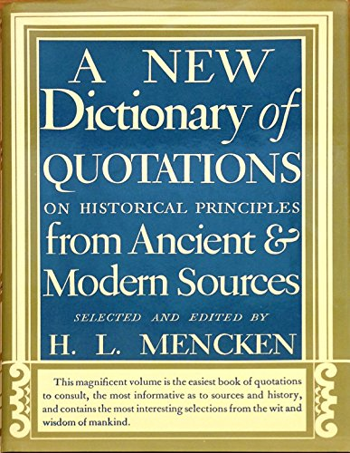 9780394400792: A New Dictionary of Quotations on Historical Principles from Ancient and Modern Sources