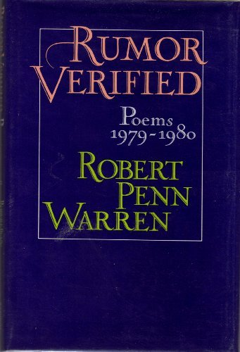 9780394521367: Rumor Verified Poems 1979-1980
