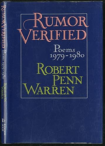 9780394521374: Rumor Verified: Poems 1979-1980