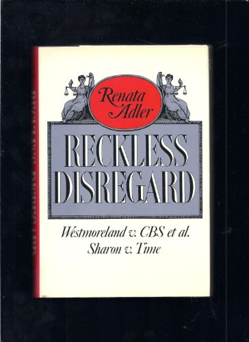 9780394527512: Reckless Disregard: Westmoreland V. CBS : Sharon V. Time