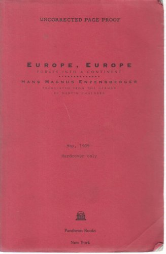 9780394558196: Europe, Europe: Forays into a Continent