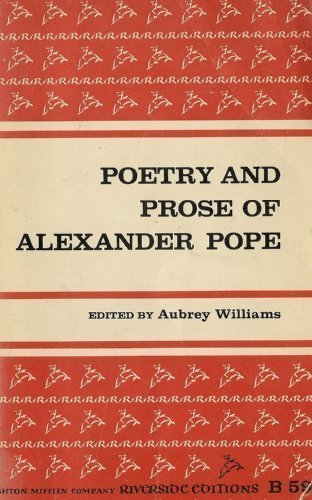 9780395051566: Poetry And Prose Of Alexander Pope (Riverside Editions)
