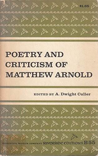 9780395052600: Poetry and Criticism of Matthew Arnold