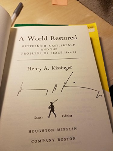9780395172292: The World Restored: Metternich, Castlereagh, and the Problems of Peace, 1812-22