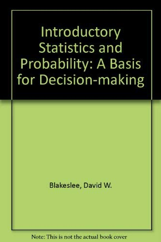 9780395199923: Introductory statistics and probability: A basis for decision making