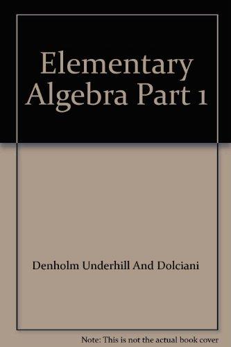 9780395240328: Elementary Algebra Part 1