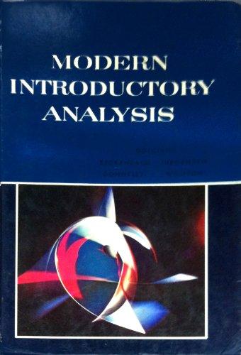 Modern Introductory Analysis: William Wooton; Edwin