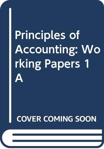 Principles of Accounting: Working Papers 1A: Jr.; Anderson, Henry