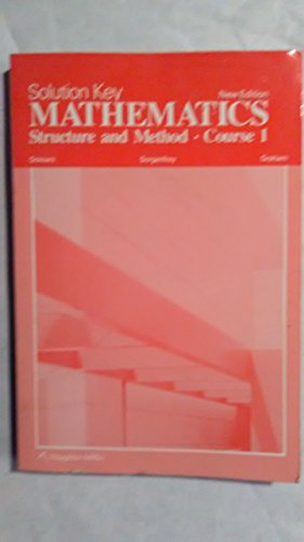 9780395332603: Solution Key Mathematics Structure and Method Course 1 New Edition