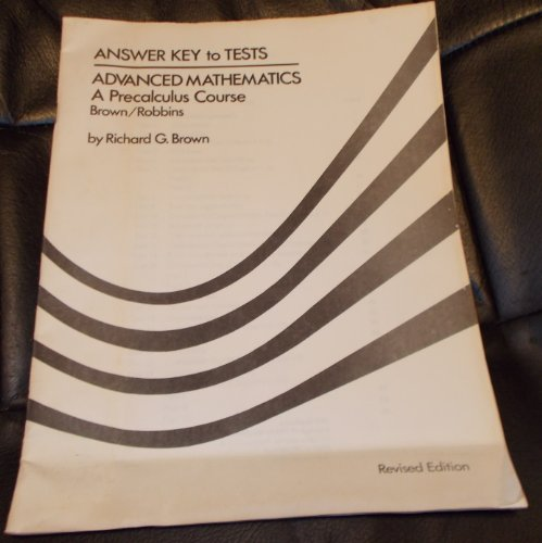 9780395340448: Answer Key to Tests: Advanced Mathematics: A Precalculus Course