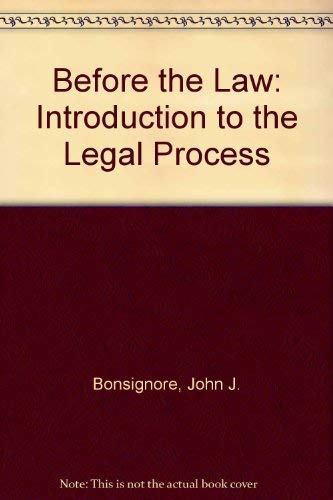 9780395343173: Before the Law: Introduction to the Legal Process