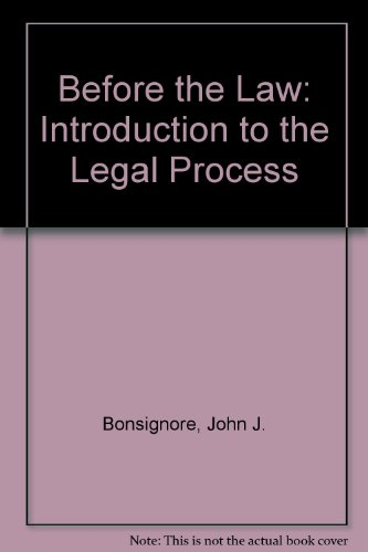 9780395359211: Before the Law: Introduction to the Legal Process