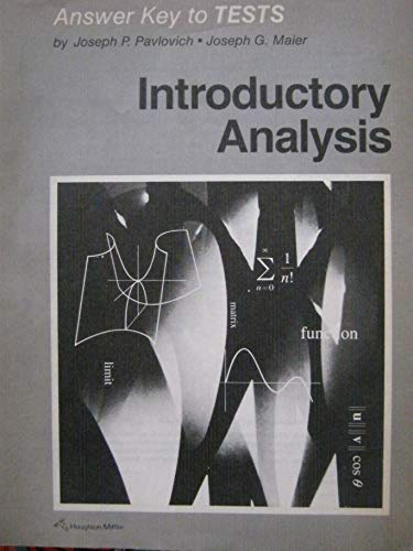 9780395406595: Introductory analysis: Answer key to tests
