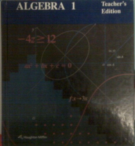 9780395430576: Algebra 1- teacher's edition, houghton mifflin
