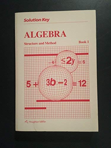 9780395443613: Solution Key (Algebra Structure and Method Book 1)