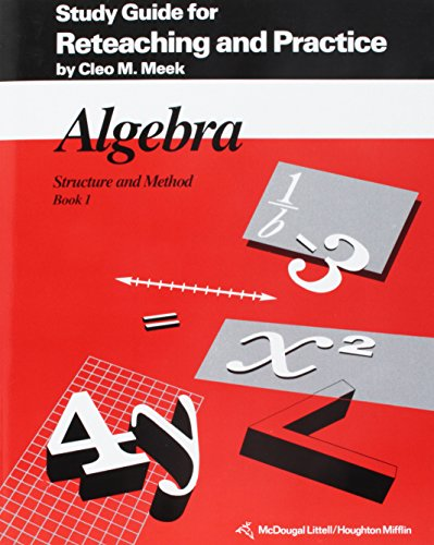 9780395470534: Algebra Structure and Method, Book 1: Study Guide for Reteaching and Practice