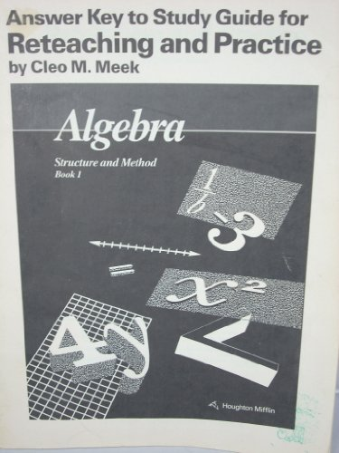 9780395470541: Answer Key to Study Guide for Reteaching and Practice- Algebra: Structure and Method, Book 1