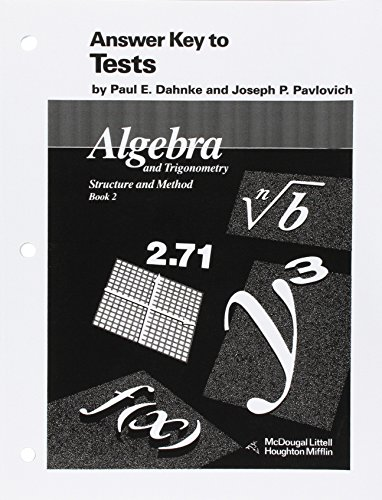 9780395470619: McDougal Littell Answer Key to Tests: Algebra and Trigonometry Stucture and Method Book 2 (McDougal Littell Structure & Method)