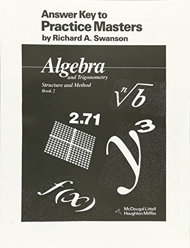 9780395470633: McDougal Littell Answer Key to Practice Masters: Algebra and Trigonometry, Structure and Method Book 2 (McDougal Littell Structure & Method)