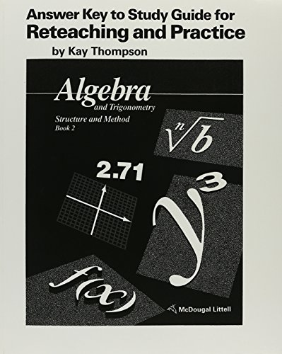 9780395470657: Answer Key to Study Guide for Reteaching and Practice: Algebra and Trigonometry Structure Method Book 2 (McDougal Littell Structure & Method)