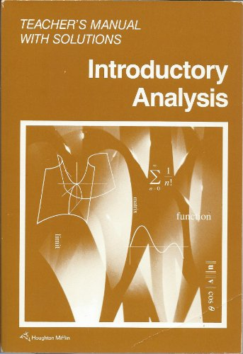 9780395526170: Introductory Analysis (Teacher's Manual with Solutions)