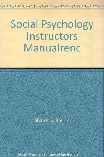 9780395526408: Social Psychology Instructors Manualrenc