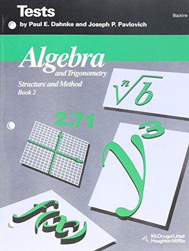 9780395591222: Algebra and Trigonometry: Structure and Method Vol. 2 : Tests (Blackline)