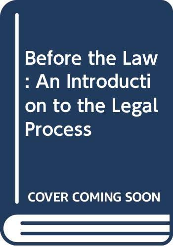 9780395675885: Before the Law: An Introduction to the Legal Process