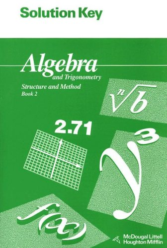 9780395677650: Algebra and Trigonometry Book 2 Solution Key: Structure and Method