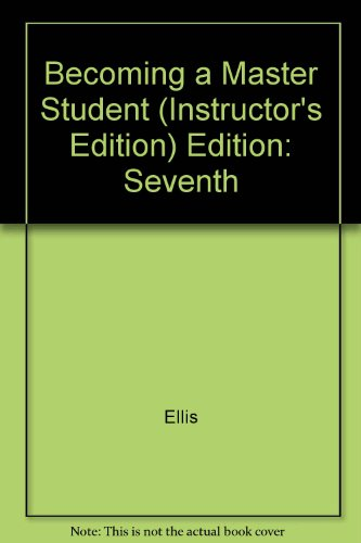 9780395692943: Becoming a Master Student (Instructor's Edition) Edition: Seventh