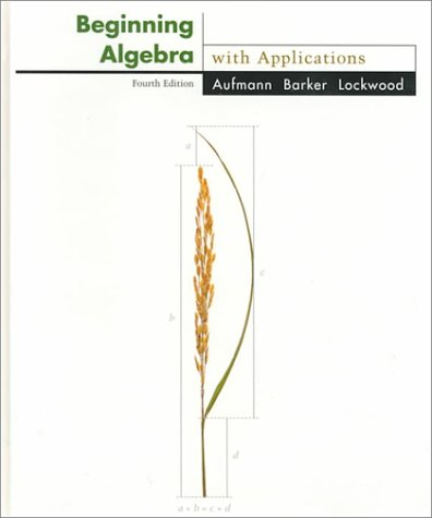 9780395746103: Beginning Algebra With Applications (The Aufmann family of books)