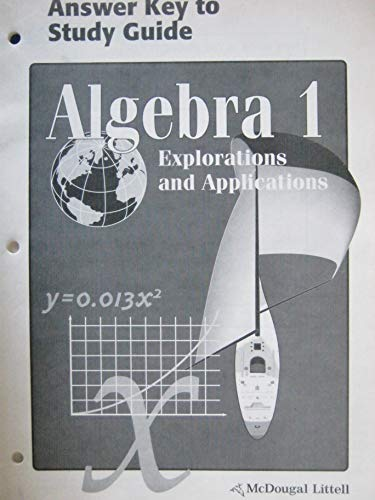 9780395769652: Algebra 1 Explorations and Applications - Answer Key to Study Guide