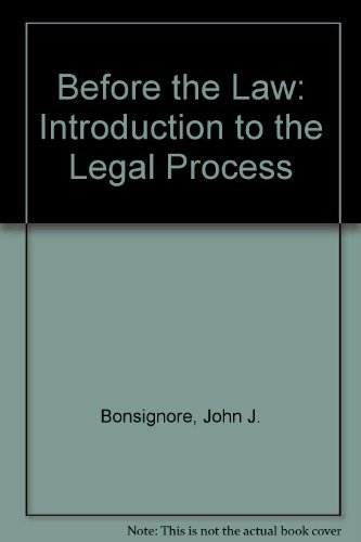 9780395870709: Before the Law: Introduction to the Legal Process