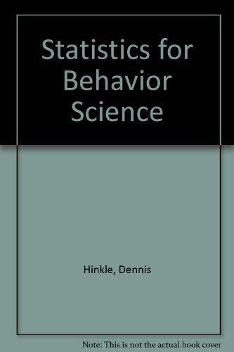 9780395874127: Applied Statistics for the Behavioral Sciences (Workbook)