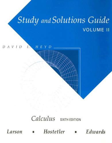 9780395887684: Study and Solutions Guide for Calculus, Vol. 2