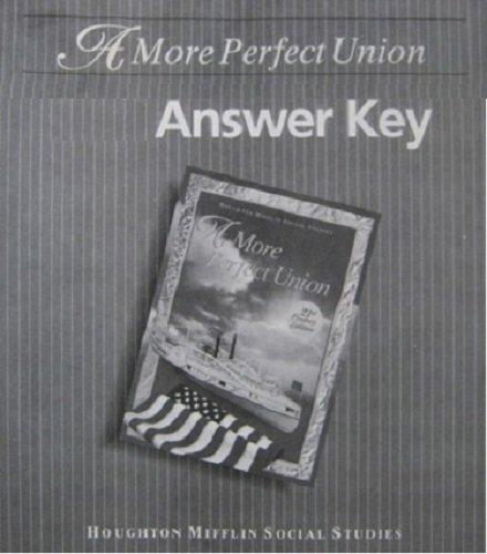 9780395949610: Houghton-mifflin Social Studies - Answer Key: A More Perfect Union Grade 8