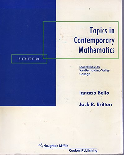 9780395953136: Topics in Contemporary Mathematics: 6th edition (Special Edition for San Bernardino Valley College)