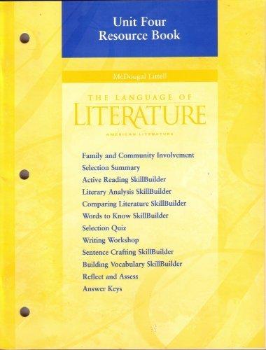 9780395968338: Unit Four Resource Book (The Language of Literature American Literature)