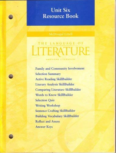 9780395968352: The Language of Literature: American Literature: Unit Six Resource Book