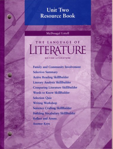 9780395968482: Unit Two Resource Book (The Language of Literature: British Literature)