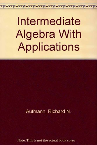 9780395969656: Intermediate Algebra With Applications (Student Solutions Manual)