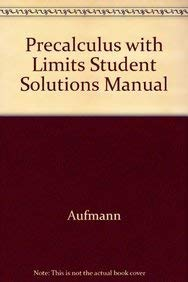 9780395975947: Precalculus With Limits Student Solutions Manual