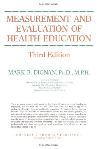9780398059354: Measurement and Evaluation of Health Education