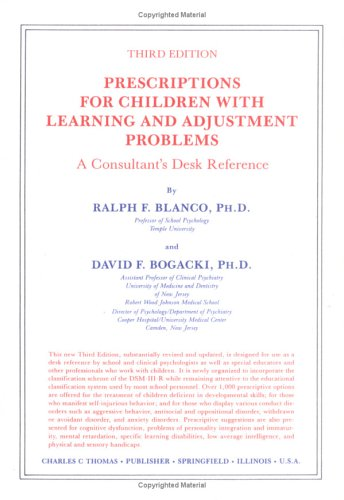 9780398060220: Prescriptions for Children with Learning and Adjustment Problems: A Consultant's Desk Reference