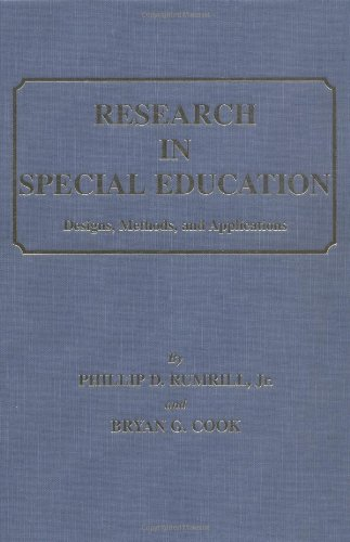 9780398071721: Research in Special Education: Designs, Methods, and Applications