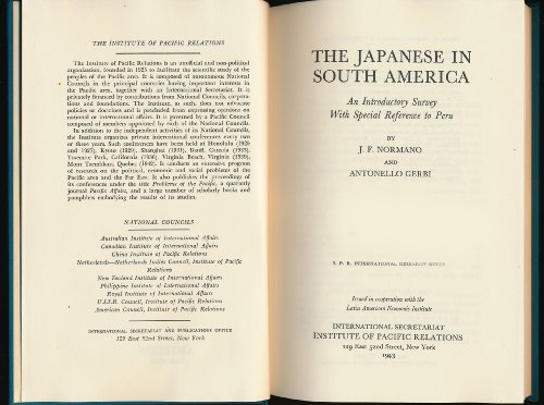 9780404595500: Japanese in South America: An Introductory Survey With Special Reference to Peru (International Research Series)