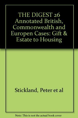 9780406026316: The Digest: Annotated British, Commonwealth and European Cases 26: Gift and Estate Taxation - Housing