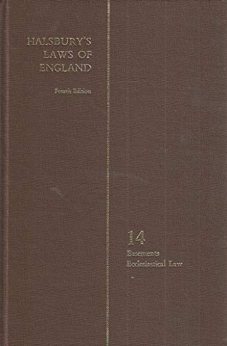 9780406034144: Halsbury's Laws of England Fourth Edition Volume 14 Easements Ecclesiastical Law